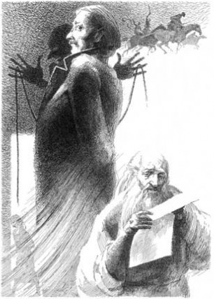 """Иллюстрация к """"Бесам"""" Ф. М. Достоевского. Архиерей Тихон читает прокламацию Ставрогина."""
