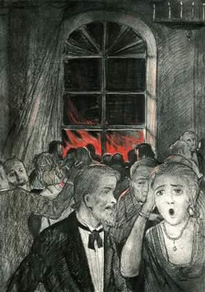 """Иллюстрация к """"Бесам"""" Ф. М. Достоевского. Пожар на окраине города, вид из окна во время губернаторского бала."""