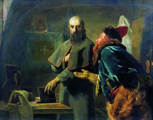 Последние минуты митрополита Филиппа. Художник Н. В. Неврев (1898 г.)