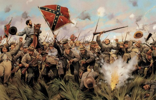 Конфедераты в бою. Картина Кейта Рокко.